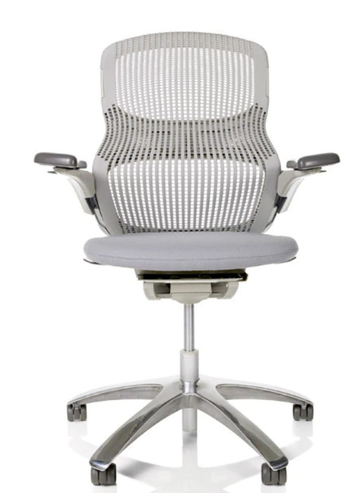 Knoll Generation Chair Fully Adjustable Model White Back Gray Seat
