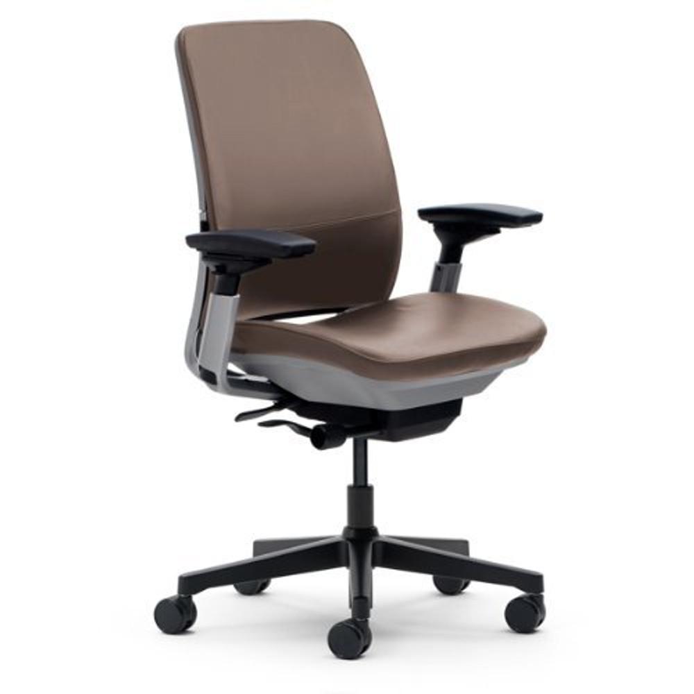 Steelcase Amia Chair Titanium/Platinum Frame Dark Brown Leather