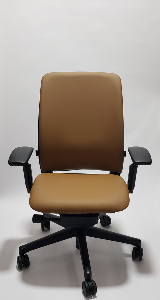 Steelcase Amia Chair Black Frame Light Brown Leather