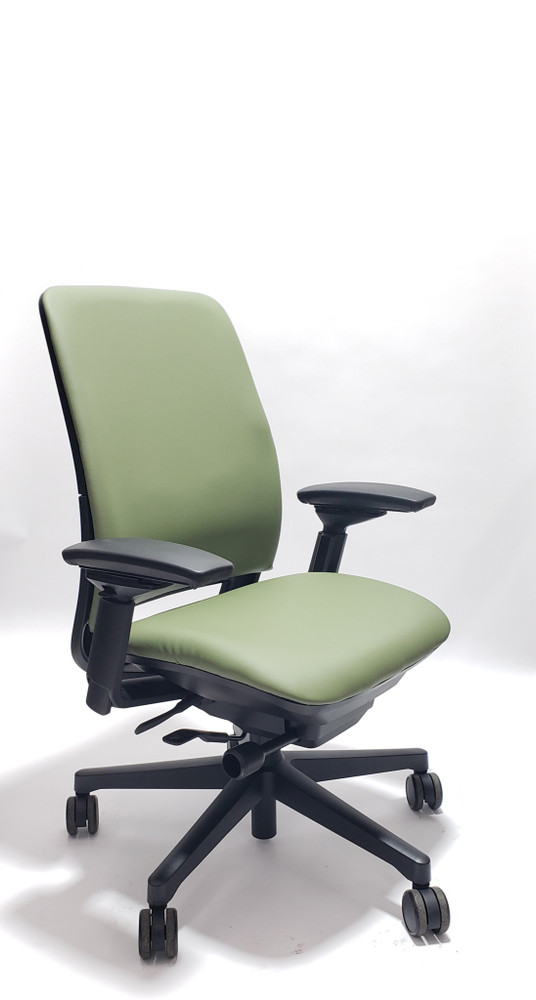 Steelcase Amia Chair Black Frame Mint/Green Leather