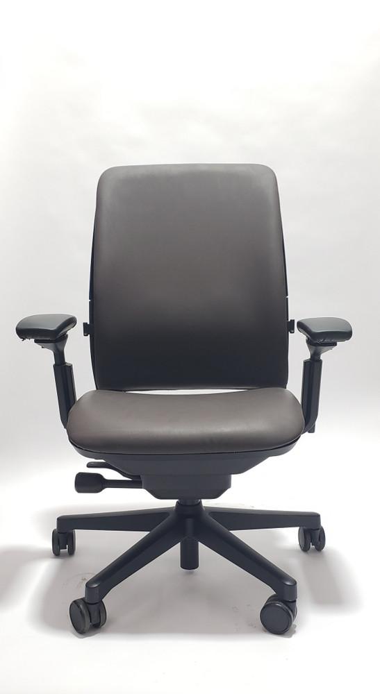 Steelcase Amia Chair Black Frame Dark Brown Leather
