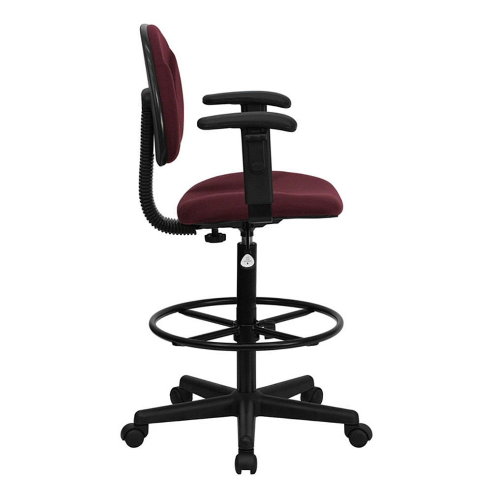 Flash Furniture Burgundy Fabric Drafting Chair with Adjustable Arms