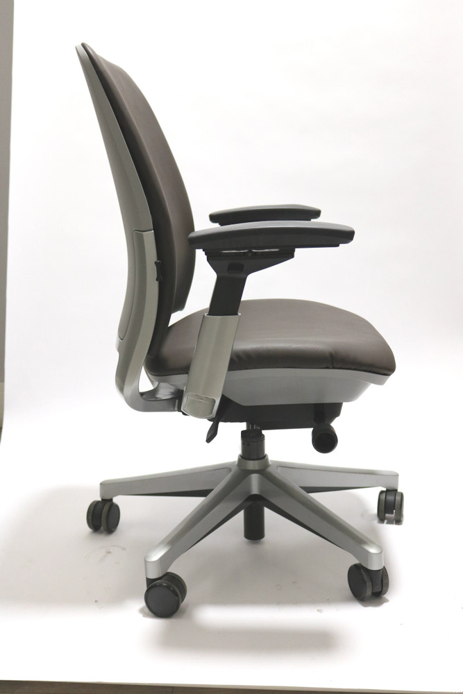 Steelcase Amia Chair Platinum Frame Black Leather