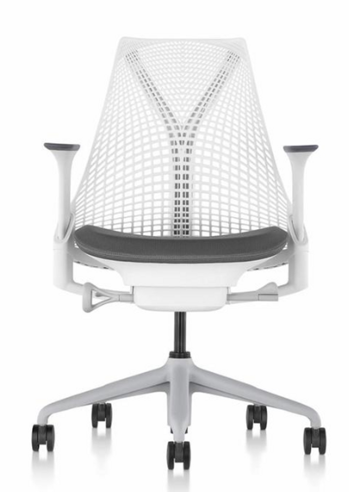Herman Miller Sayl Chair White Back and Frame and Black Leather Seat