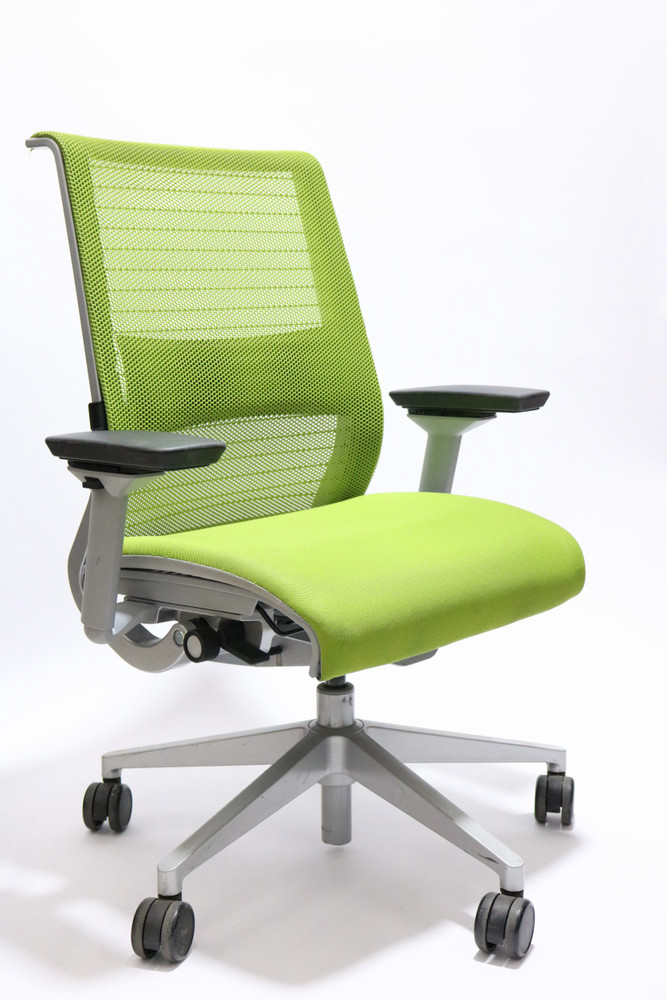 Steelcase Think Chair Green Fabric Seat and Mesh Platinum frame