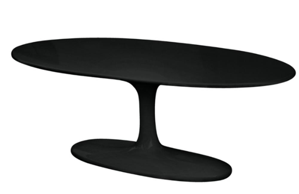 Tulip Flower Coffee Table Oval Black Fiberglass Top by Fine Mod Saarinen Style