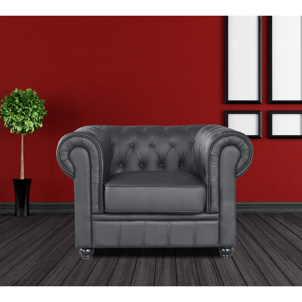 Chestfield Aristocrat Chair Black Leather by Fine Mod