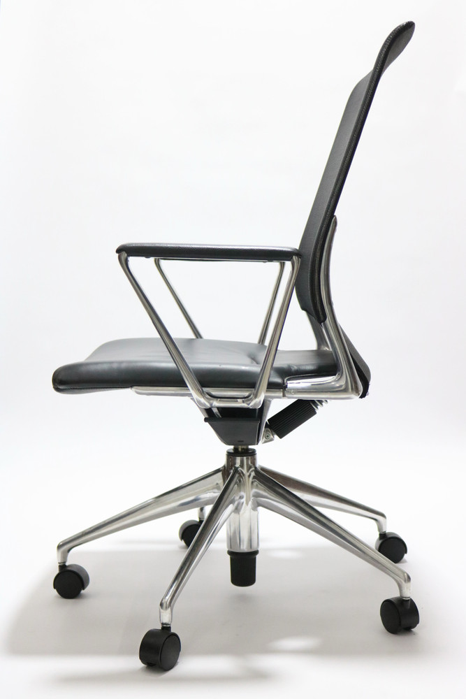 Meda Chair By Vitra Black Leather Seat Mesh Back