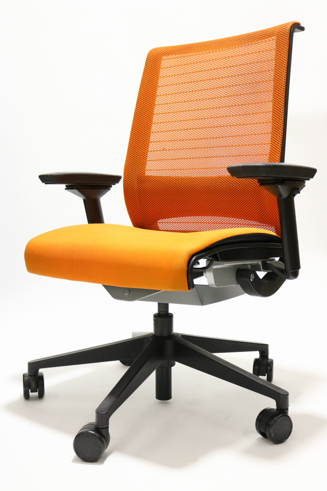 Think Chair By Steelcase Orange Color Fabric Seat and Mesh Black frame