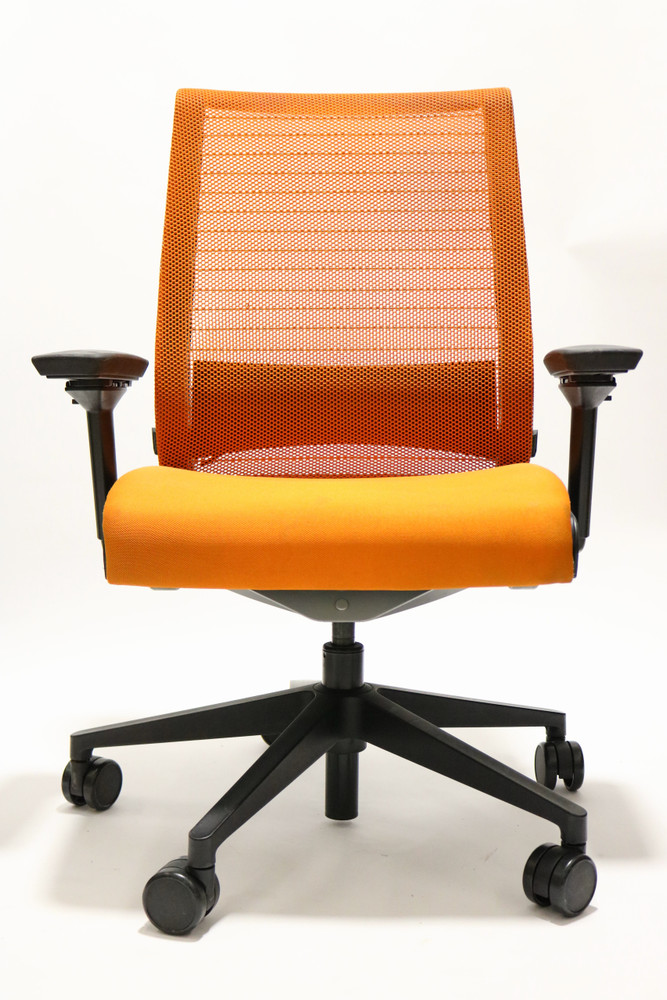 Steelcase Think Chair Orange Color Fabric Seat and Mesh Black frame
