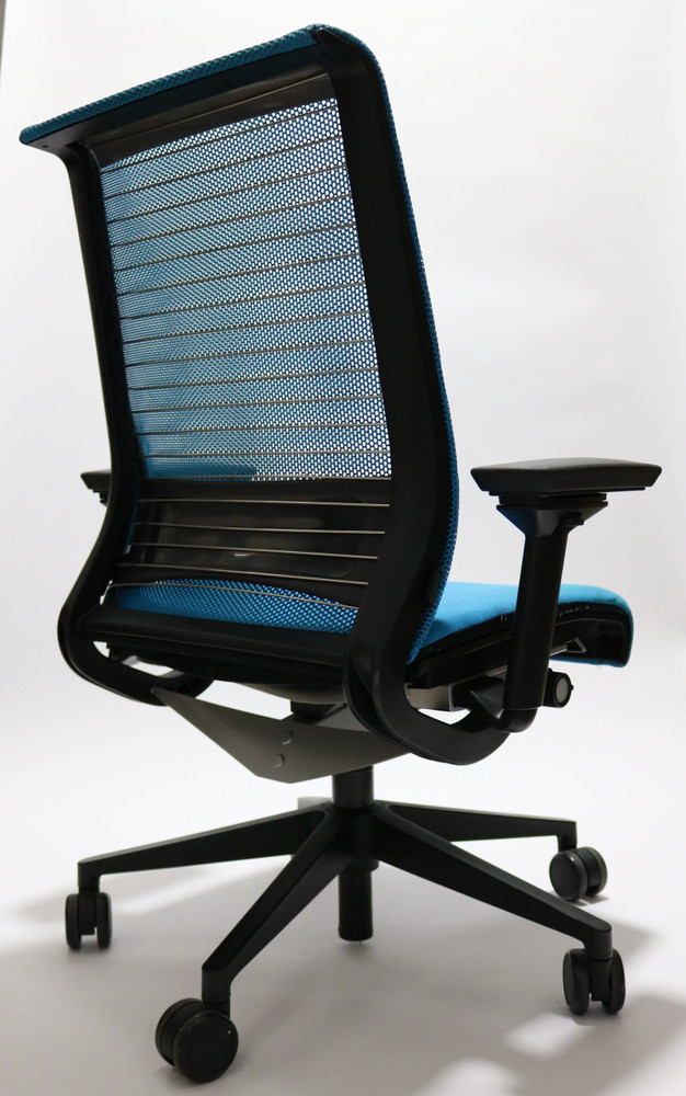 Think Chair By Steelcase Sky Blue Color Fabric Seat and Mesh Black frame