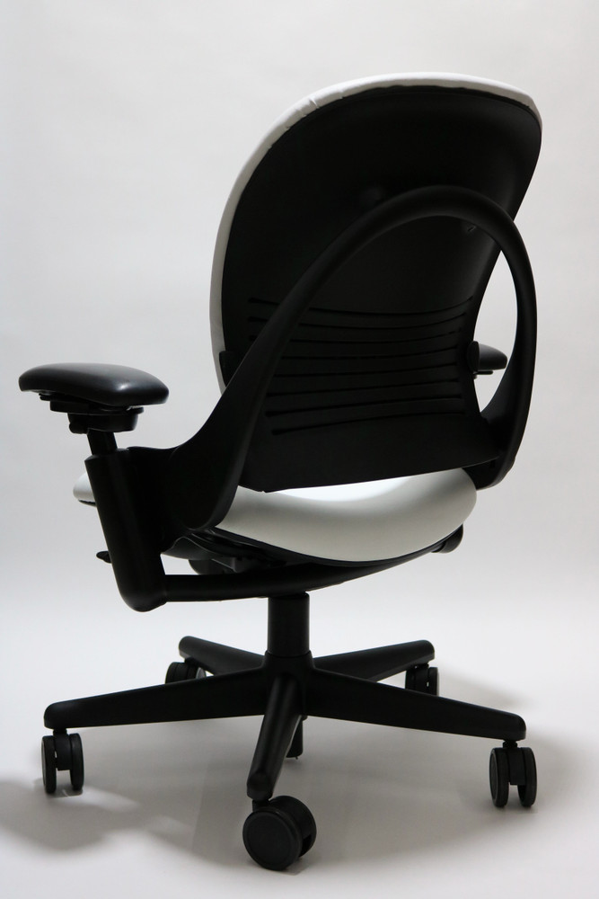 Steelcase Leap Chair In White Leather