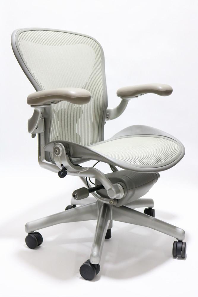 Herman Miller Aeron Chair wIth Posturefit Platinum Frame and Gray Mesh Size B or C