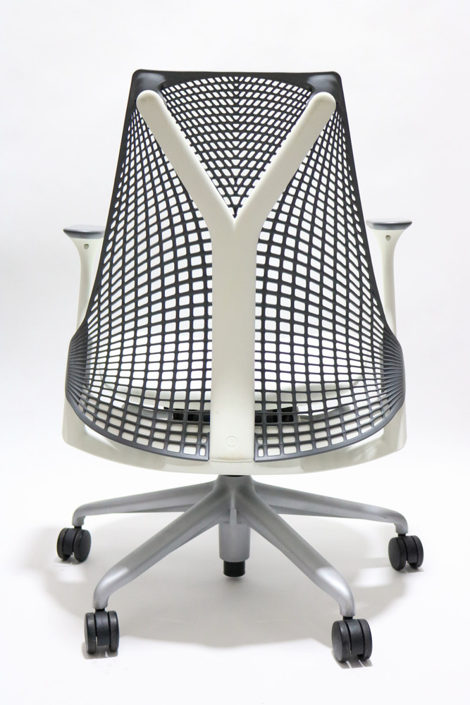 Refurbished Herman Miller Sayl Chair Gray Back and White Leather Seat
