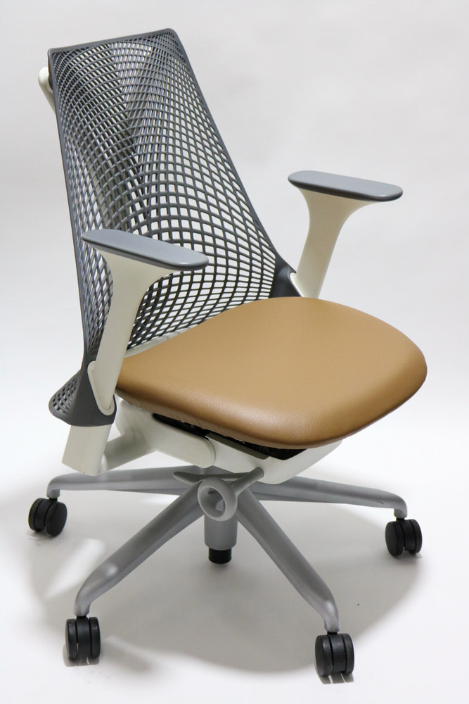Herman Miller Sayl Chair Gray Back and Light Brown Leather Seat