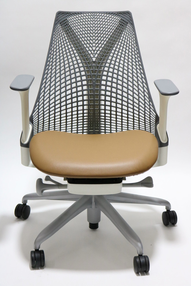 Refurbished Herman Miller Sayl Chair Gray Back and Light Brown Leather Seat