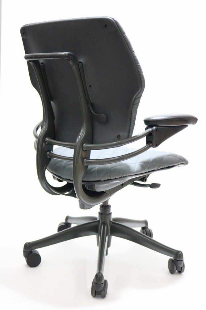 Refurbished Humanscale Freedom Chair Fully Adjustable Diamond Executive Model Gray Leather