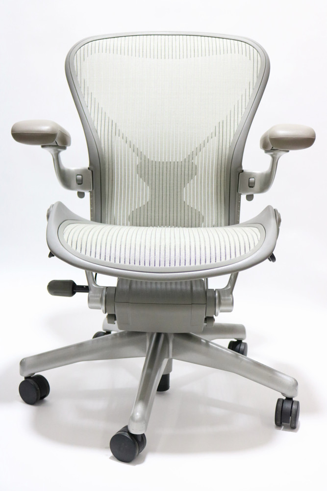 Refurbished Herman Miller Aeron Chair With Posturefit Platinum Frame Basic Model With Some Options