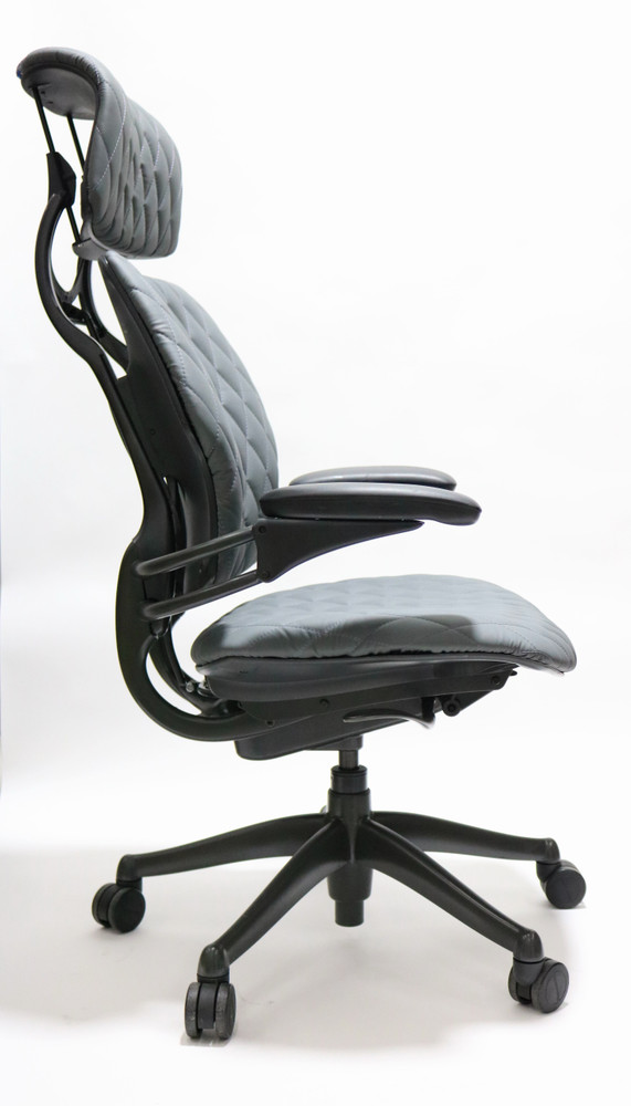 Refurbished Humanscale Freedom Chair With Headrest Fully Adjustable Diamond Executive Model Gray Leather