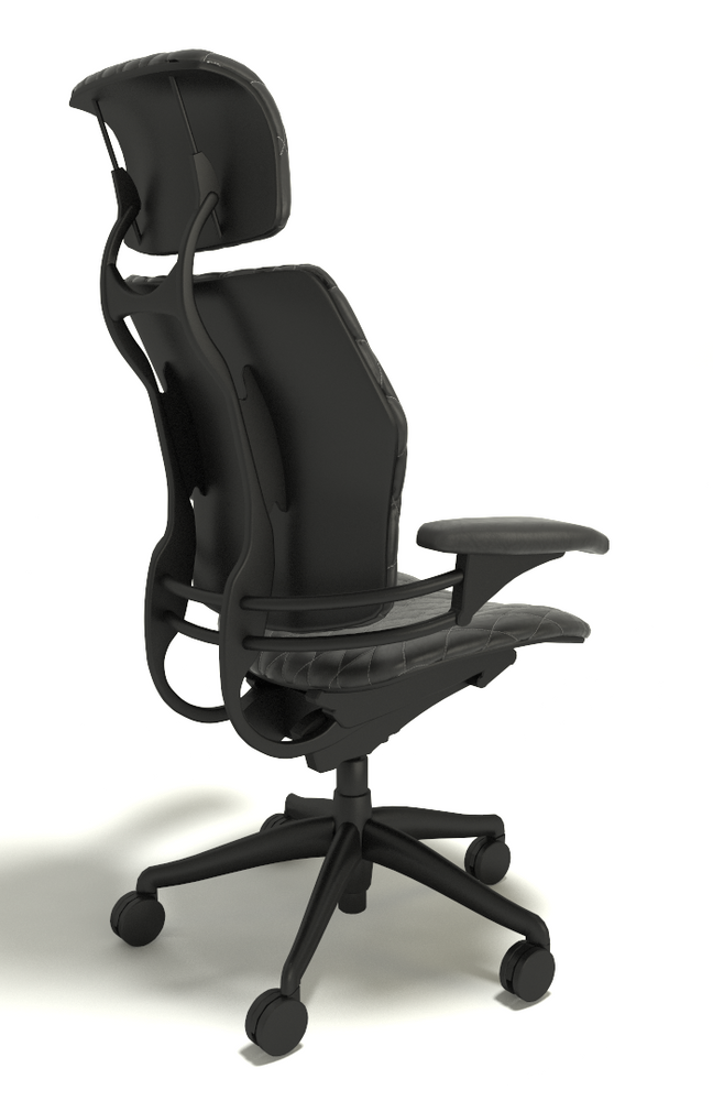Humanscale Freedom Chair With Headrest Fully Adjustable Diamond Executive Model Black Leather