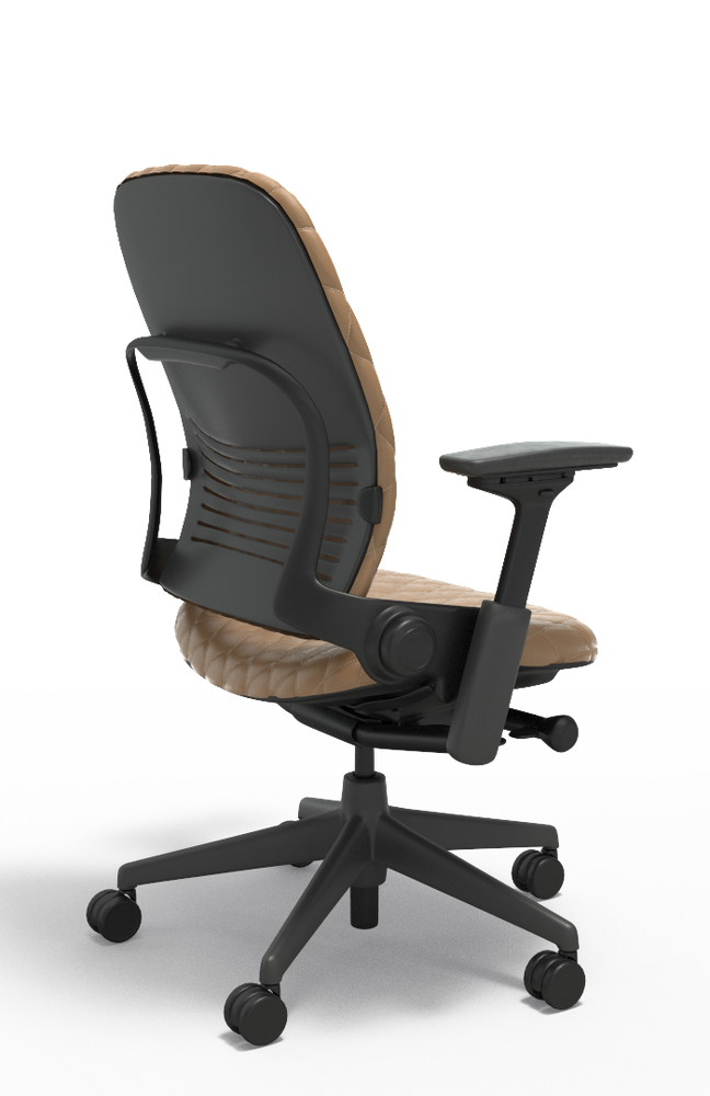 Steelcase Leap Chair V2 In Light Brown Leather Diamond Couch Executive Model