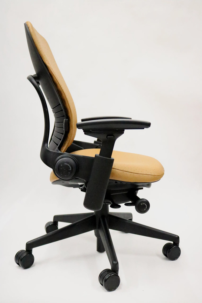 Steelcase Leap Chair V2 Leap Ostrich Style Leather Curry Color Executive Coach Edition