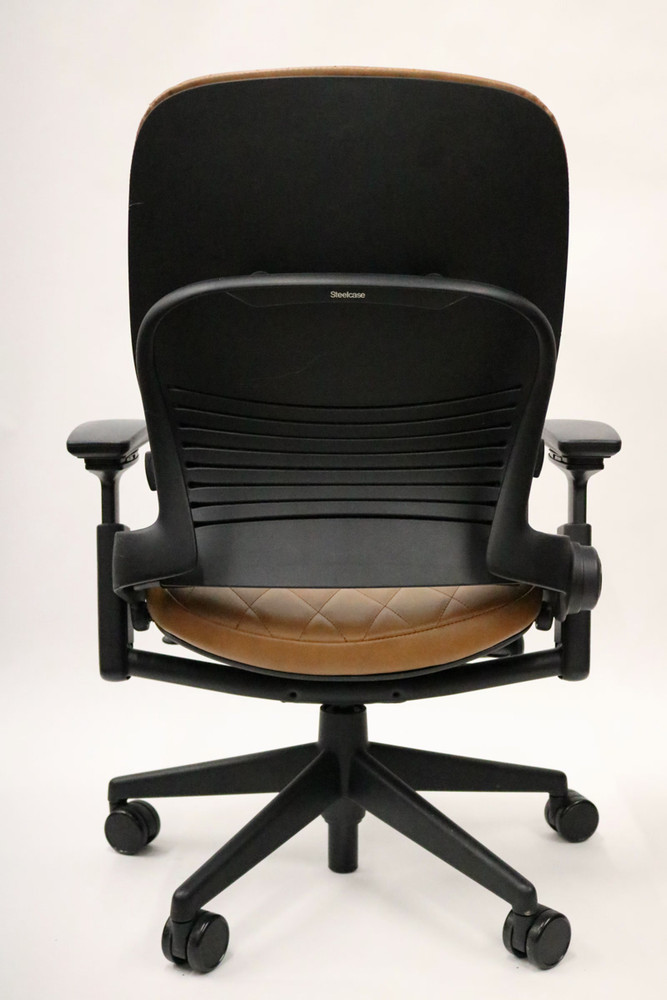 Steelcase Leap Chair Diamond 1900's Style Coach Light Brown Leather