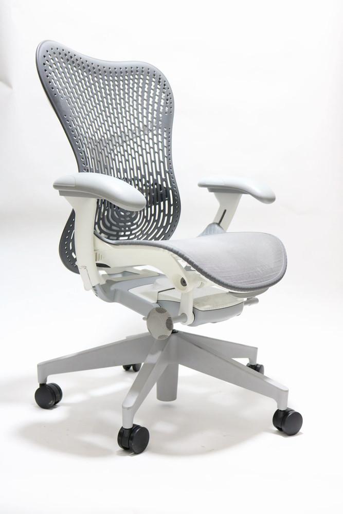 Herman Miller Mirra V2 Chair In Gray Mesh White Frame