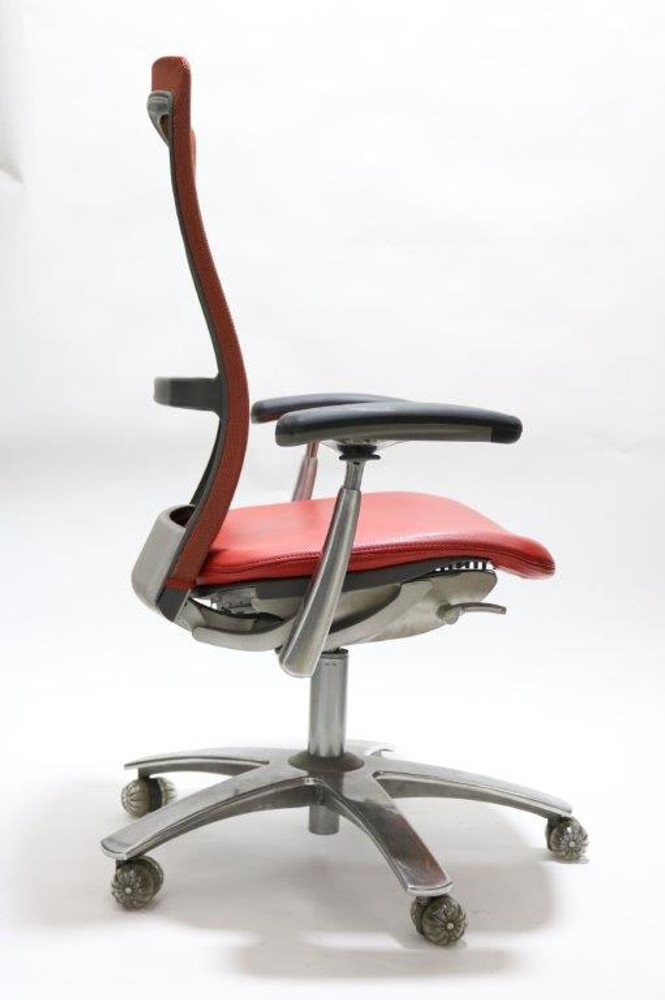 Knoll Life Chair Fully Adjustable Model Red Leather Seat and Red Mesh Back