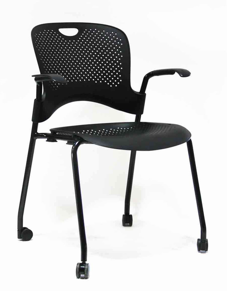 Herman Miller Caper Stacking Side Chair in Black Molded Seat and Back