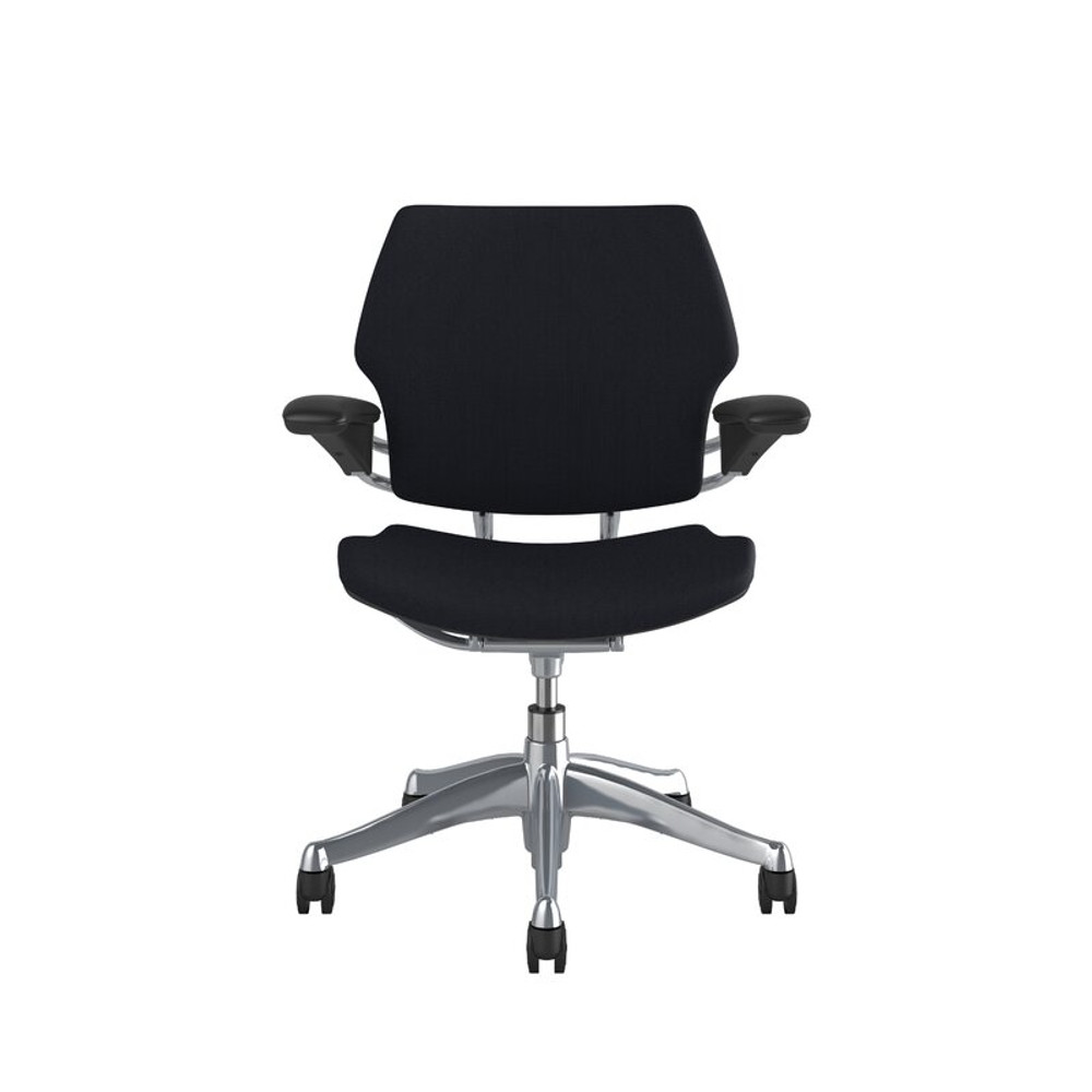 Humanscale Freedom Chair In Polished Frame, Black Leather