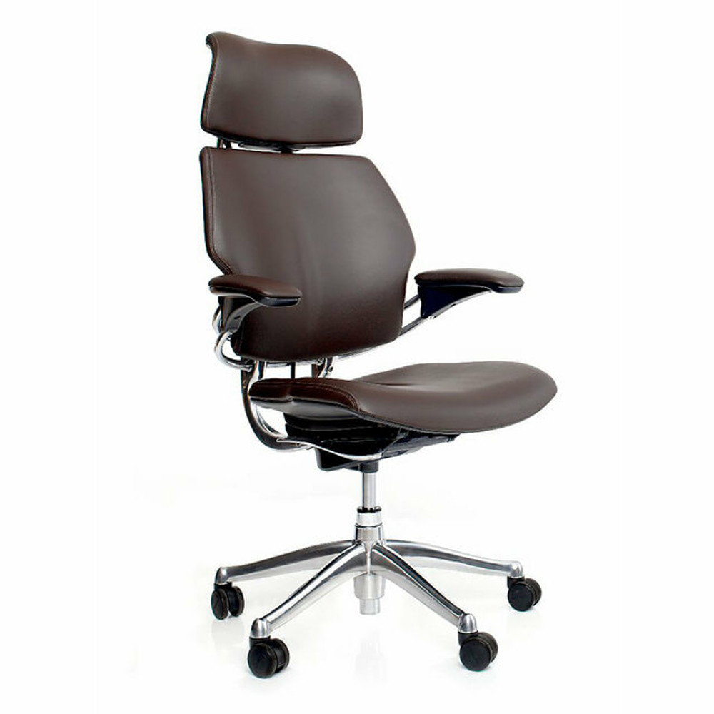 Humanscale Freedom Chair Fully Adjustable Model With Headrest Polished Frame Brown Leather