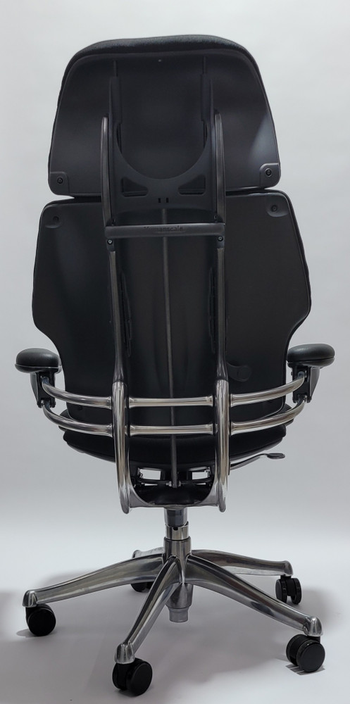 Humanscale Freedom Chair Fully Adjustable Model With Headrest Polished Frame Black Fabric