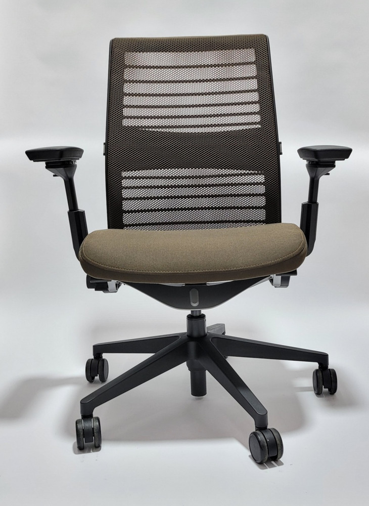 Steelcase Think Chair V2 Brown Mesh and Brown Seat + 4 Way Pivot Arms