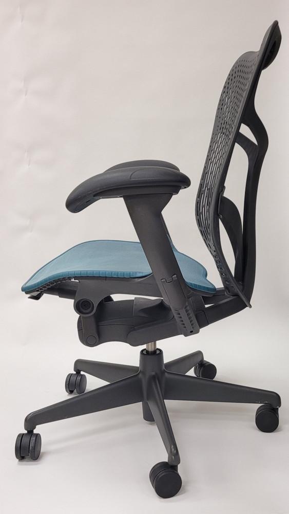 Herman Miller Mirra V2 Chair In Black Back Teal Seat