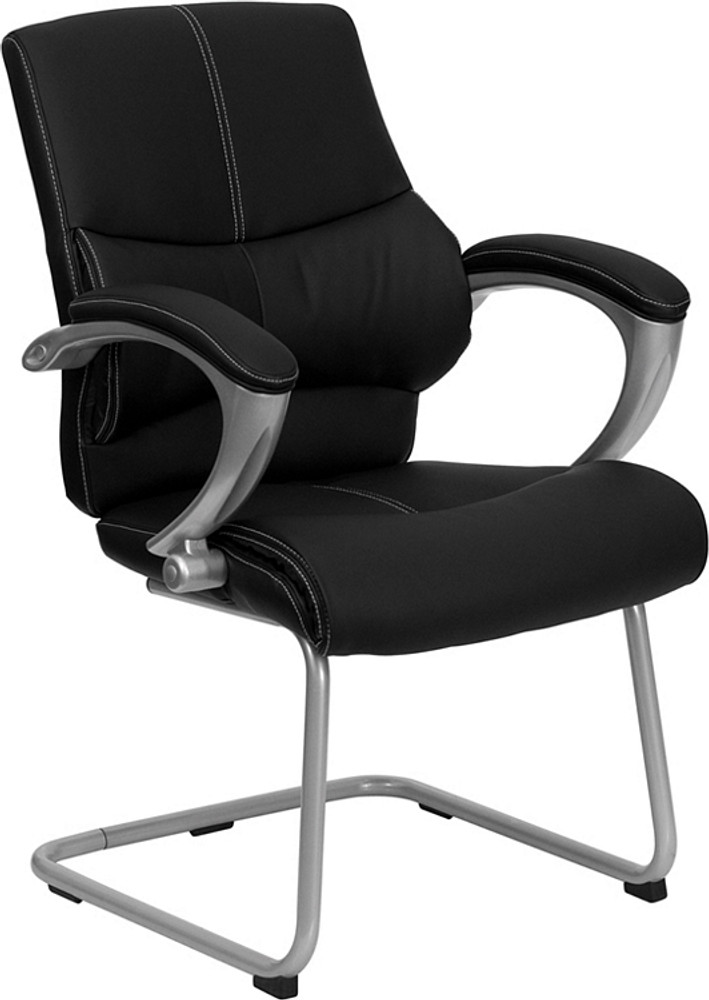 Flash Furniture Black Leather Executive Side Reception Chair With Silver  Sled Base ...