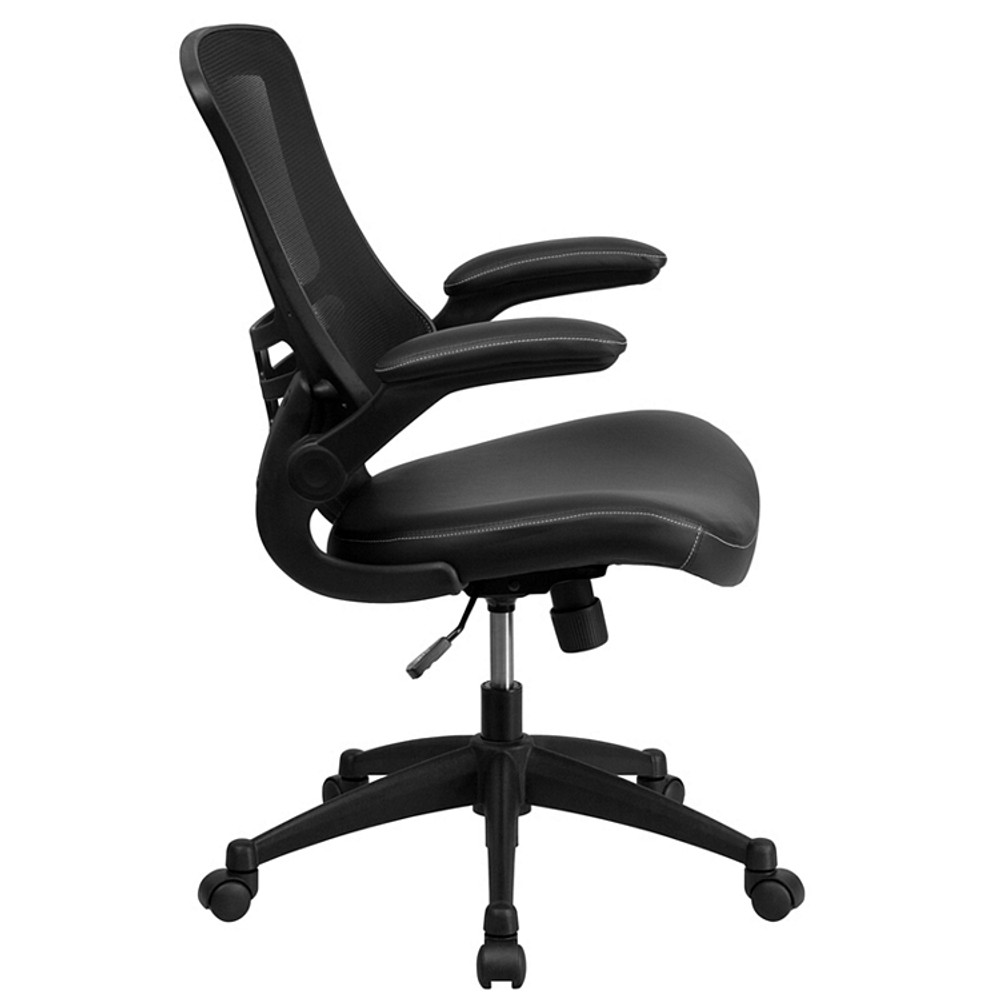 Flash Furniture Mid-Back Black Mesh Swivel Task Chair with Leather Seat and Flip-Up Arms