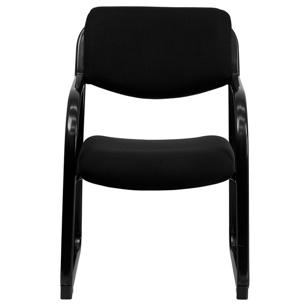 Flash Furniture Black Fabric Executive Side Reception Chair with Sled Base
