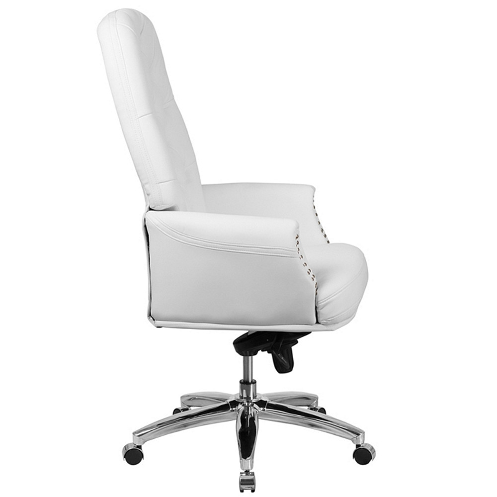 Astonishing Flash Furniture High Back Traditional Tufted White Leather Multifunction Executive Swivel Chair With Arms Squirreltailoven Fun Painted Chair Ideas Images Squirreltailovenorg