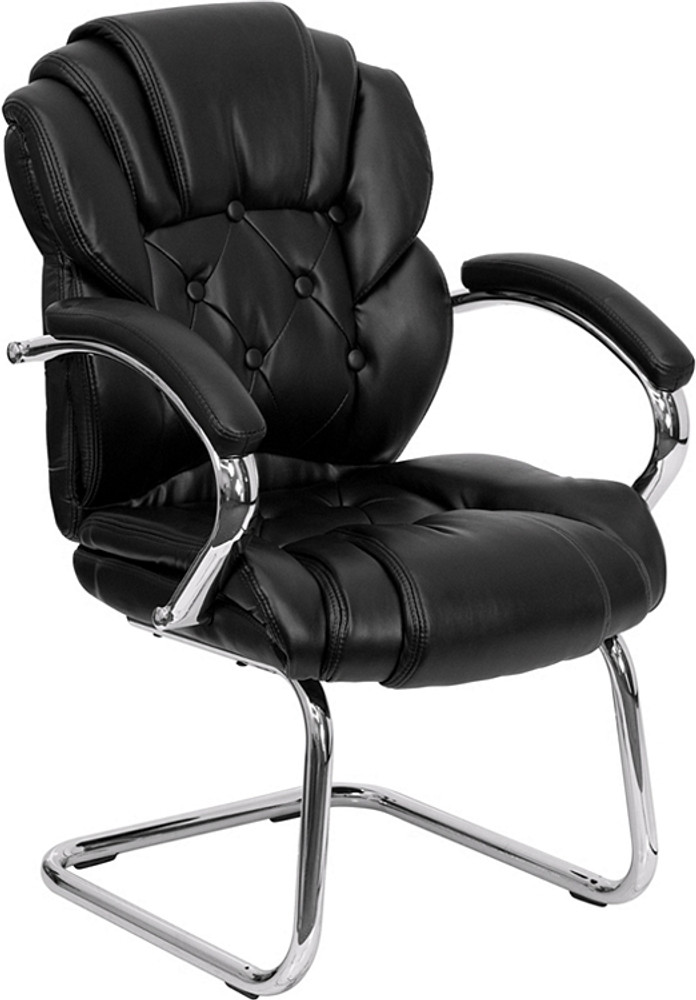 Flash Furniture Black Leather Button Tufted Transitional Side Reception Chair with Sled Base