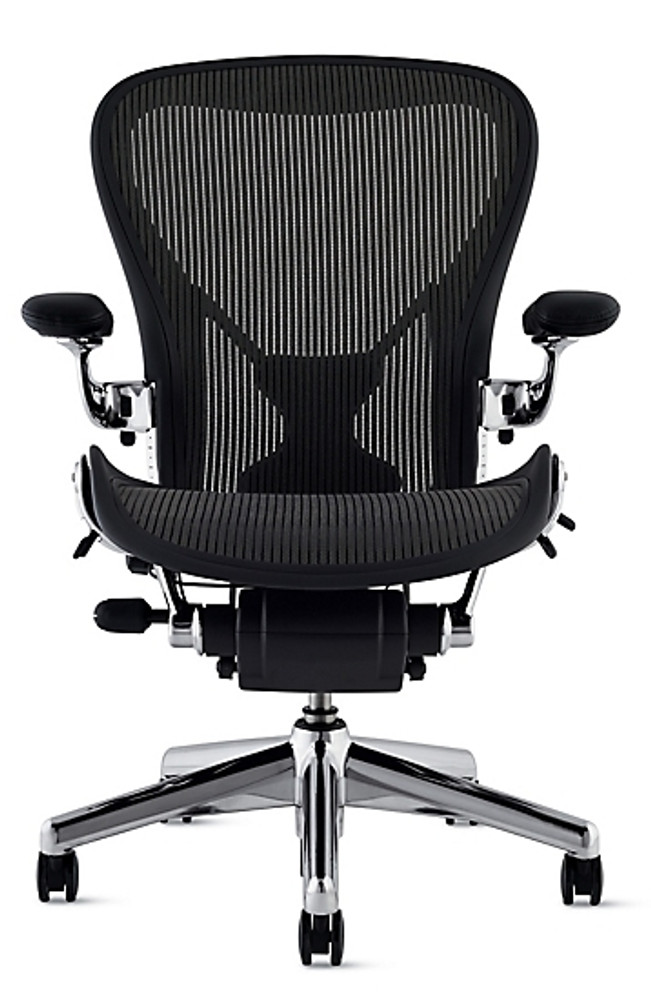 Herman Miller Aeron Chair With Posturefit Size B Black with Polished Base