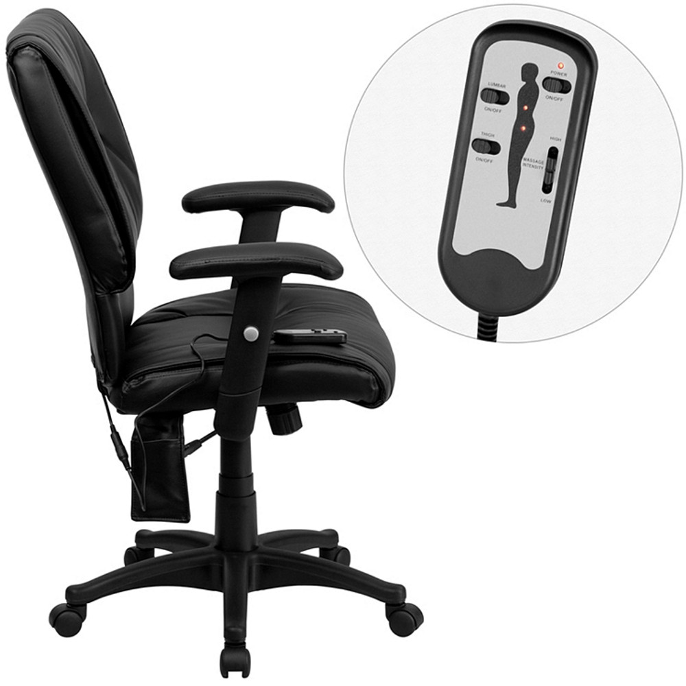 Flash Furniture Mid Back Massaging Black Leather Executive Swivel