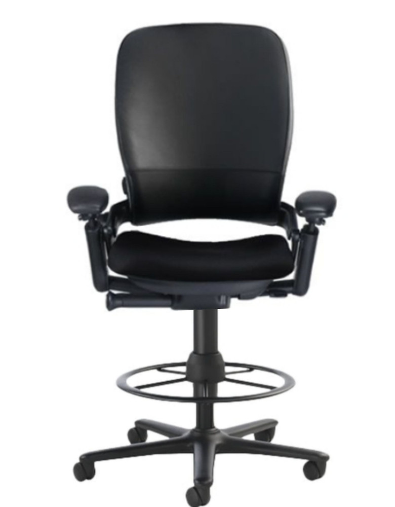 Steelcase Leap Drafting Work Stool Chair V2 Black Leather