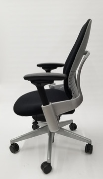 Steelcase Leap Chair V2 In Black Fabric and In Platinum Mineral Titanium Base