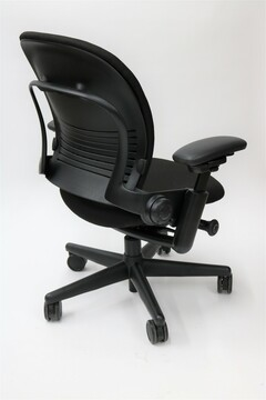 Steelcase Leap Chair In Black Fabric + Pivot Arms
