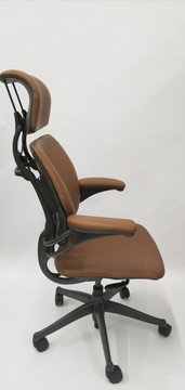 Humanscale Freedom Chair Fully Adjustable Model With Headrest in Light Brown, Open Box