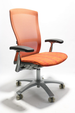 Life Chair By Knoll Fully Adjustable Model Orange Seat and Mesh Back