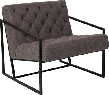 Madison Series Retro GrayLeather Tufted Lounge Chair by Lemoderno