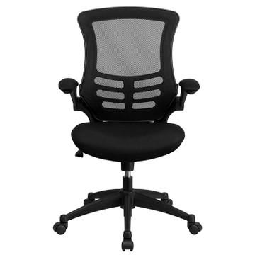 Bulk Lot 50 Lemoderno Mid-Back Black Mesh Swivel Task Chair with Flip-Up Arms