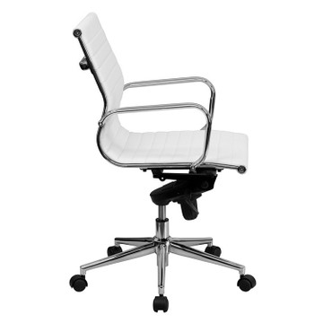 Bulk Lot 12 Lemoderno Mid-Back White Ribbed Leather Swivel Conference Chair with Knee-Tilt Control and Arms